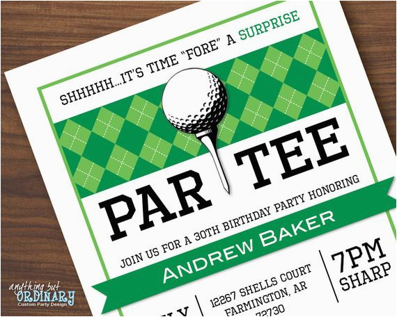 Golf Themed Birthday Party Invitations Surprise Printable