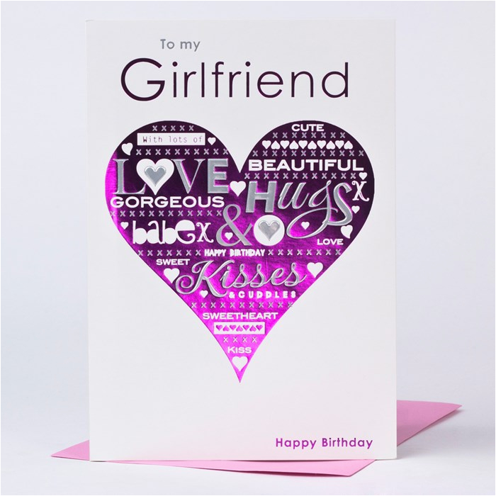 birthday card girlfriend pink heart only 89p