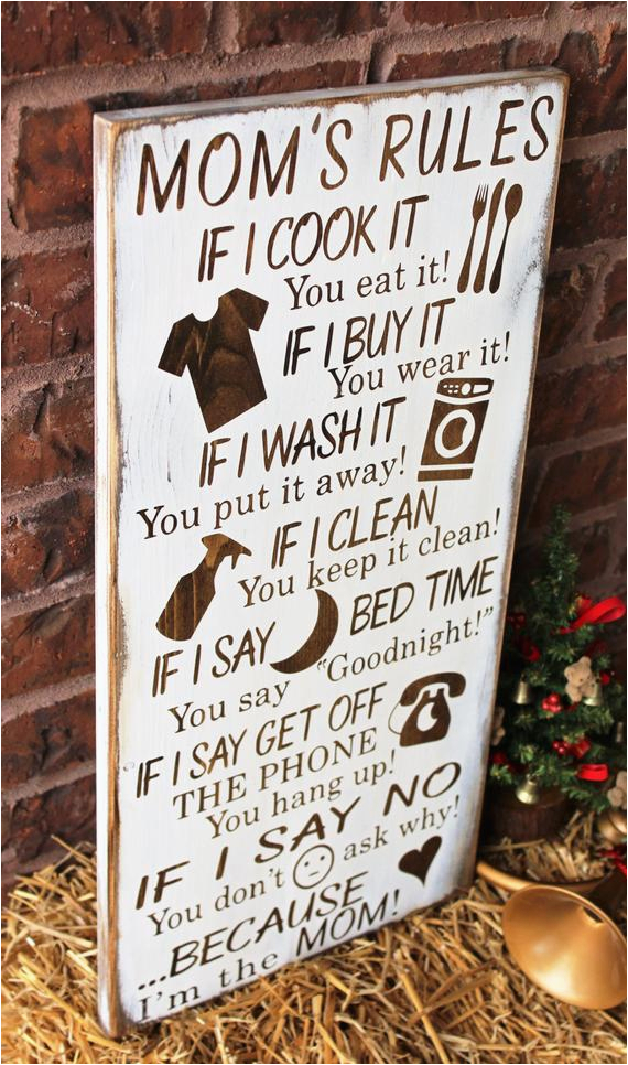 gifts for mom mom 39 s rules rustic wood sign by