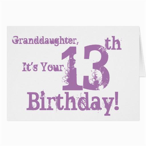 Granddaughter 13th Birthday Card 39 S In Purple Zazzle