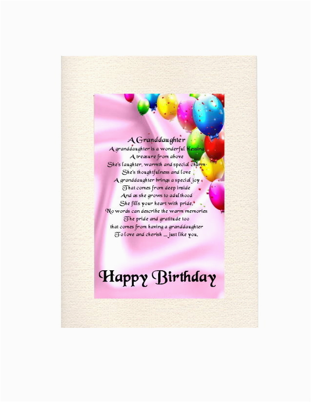 Granddaughter 16th Birthday Cards Personalised Card Quot A Poem