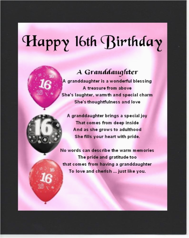 Granddaughter 16th Birthday Cards Personalised Mounted Poem Print Design