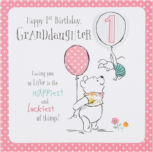 Granddaughter 1st Birthday Card Verses Winnie The Pooh Disney New