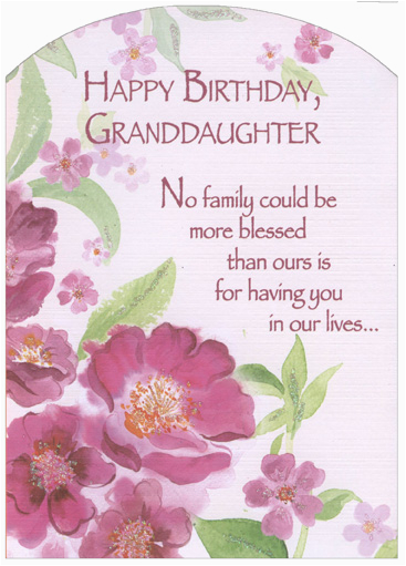 Granddaughter Birthday Card Images Pink Flowers with Glitter Z Fold Granddaughter Birthday