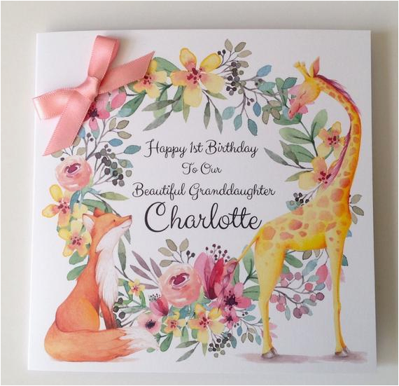 Granddaughter First Birthday Card Personalised Cute 1st Daughter