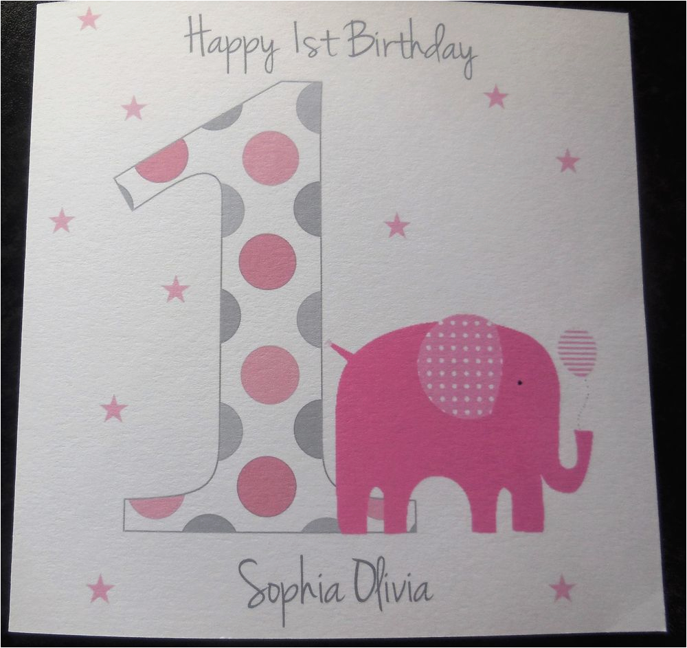 handmade personalised 1st birthday card girls daughter