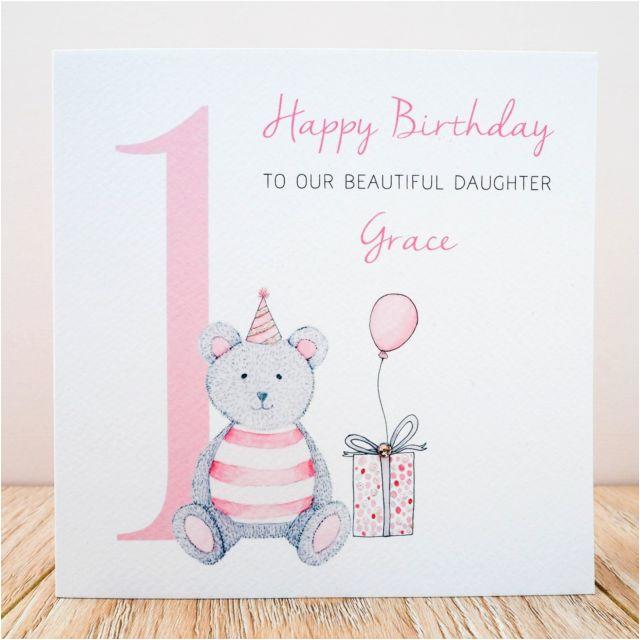 Granddaughter First Birthday Card Personalised Handmade 1st Niece Daughter