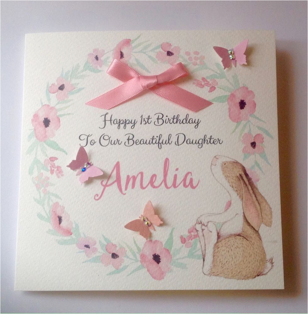 personalised bunny 1st birthday card daughter