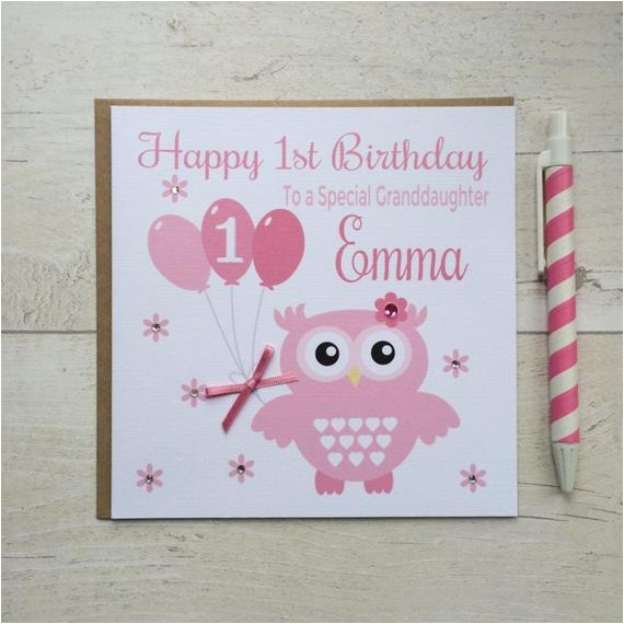 Granddaughter First Birthday Card Personalised Owl Daughter