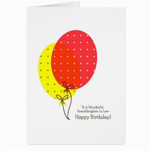 Granddaughter In Law Birthday Card Granddaughter In Law Birthday Cards Balloons Zazzle