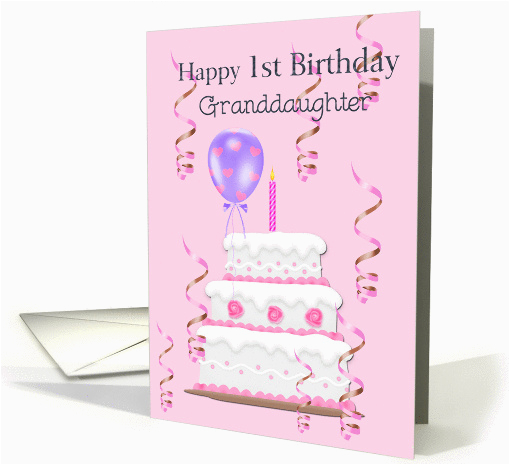 Granddaughters 1st Birthday Card Happy Granddaughter Cake Balloons
