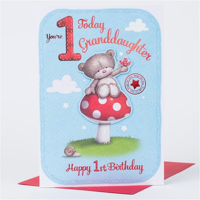 Granddaughters 1st Birthday Card Hugs 1st Birthday Card Granddaughter Only 1 49