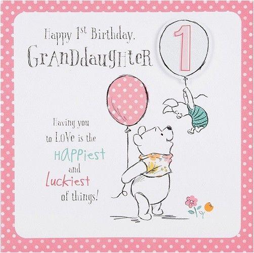 Granddaughters 1st Birthday Card Winnie The Pooh Granddaughter Disney New