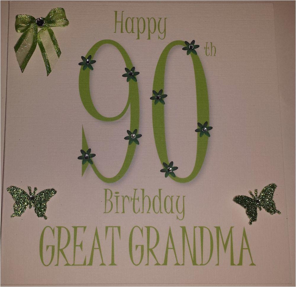 Grandma 90th Birthday Card Personalised Handmade Great 60th 70th 80th
