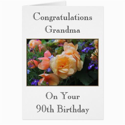 Grandma 90th Birthday Card Pretty Flowers Grandma 90th Birthday Card Zazzle
