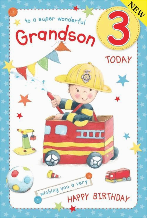 Grandson Birthday Cards Age 3 Fireman Large Luxury 3rd Card Ebay