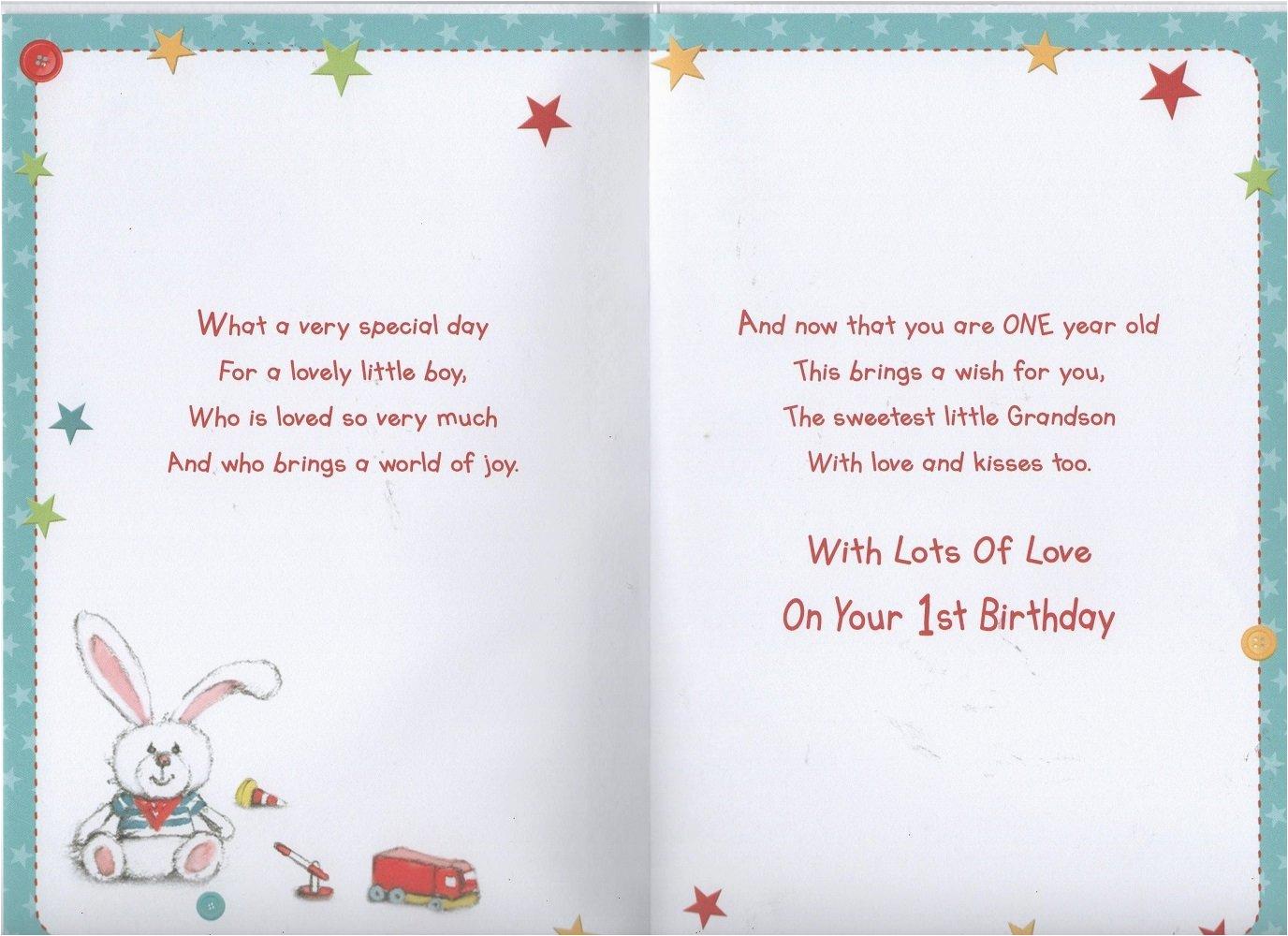 grandson 1st birthday card ebay