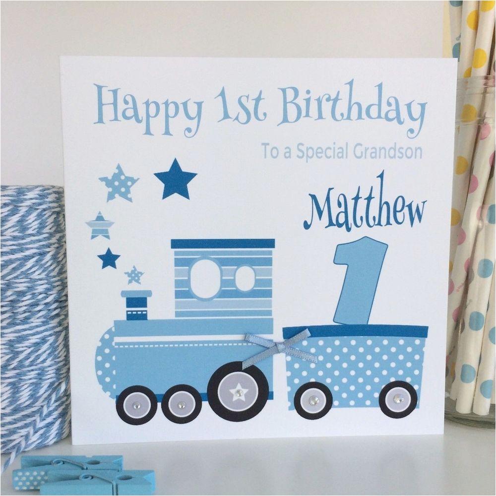 handmade personalised blue train 1st birthday card