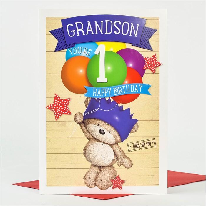 hugs 1st birthday card grandson balloons only 1 49