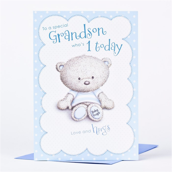 hugs 1st birthday card to a special grandson