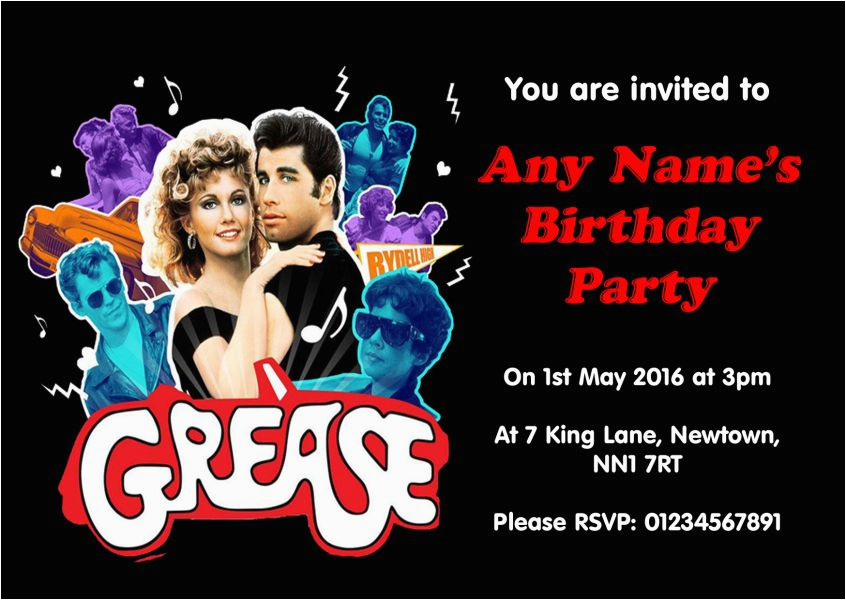 grease party invitations