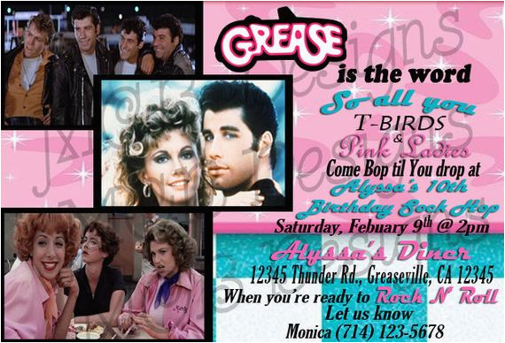 set of 8 grease inspired birthday