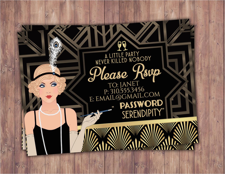 great gatsby birthday invitation rsvp