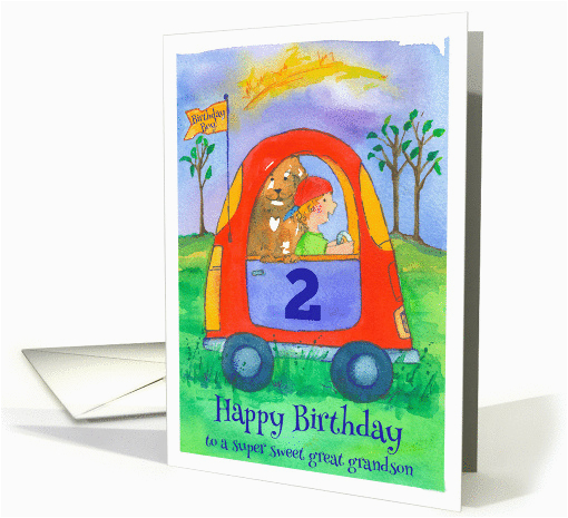 Great Grandson 2nd Birthday Card Happy Sweet Little Boy And Dog
