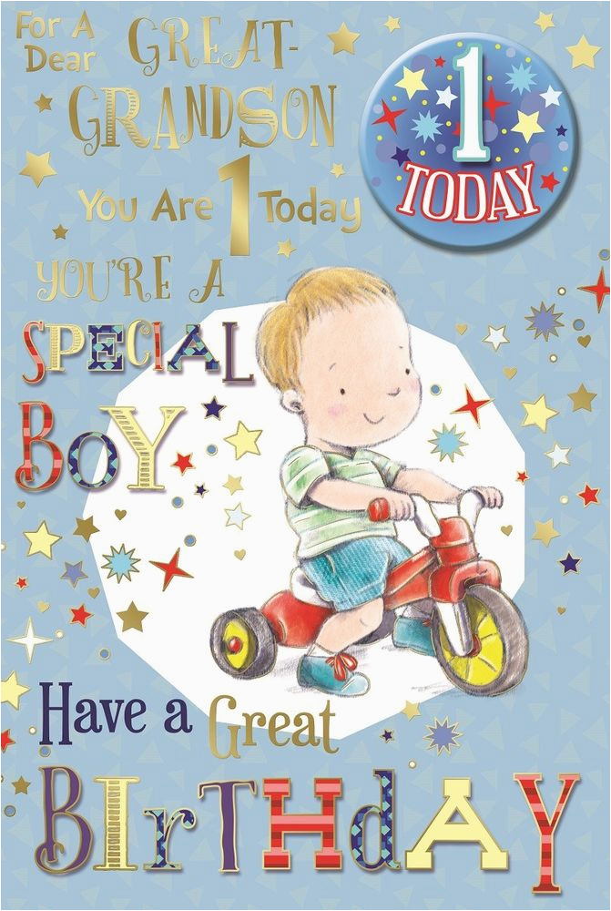Great Grandson Birthday Cards 39 S 1st Card 1 Today Little Boy