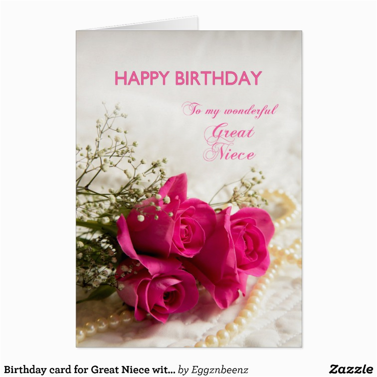 Great Niece Birthday Card Birthday Card for Great Niece with Pink Roses Zazzle