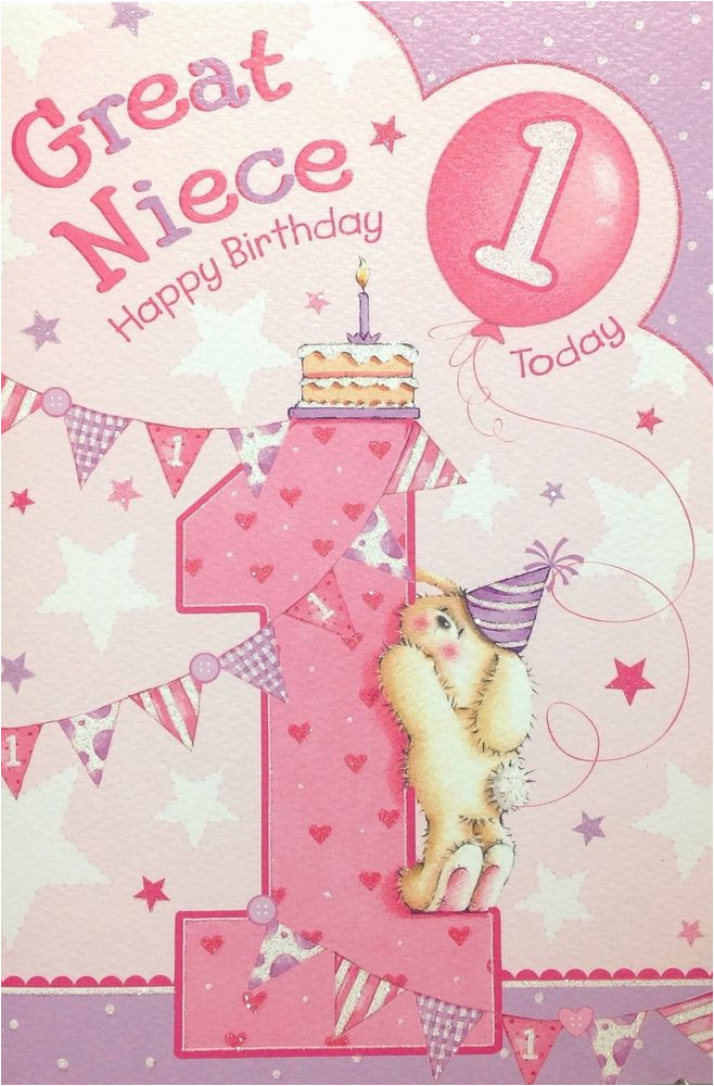 great niece age 1 1st birthday card short verse