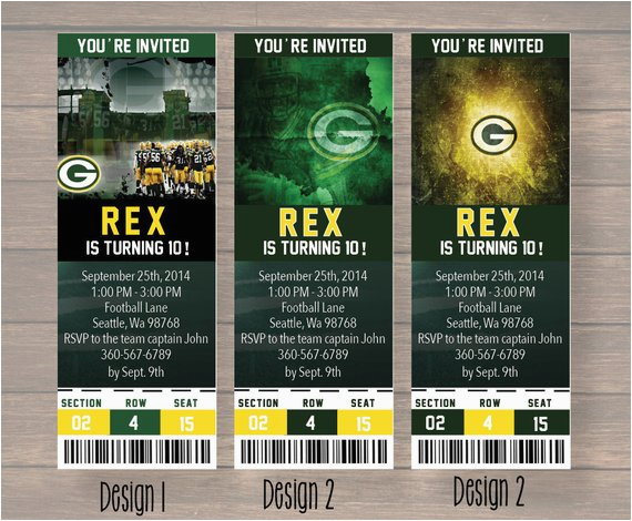 green bay packers custom party ticket