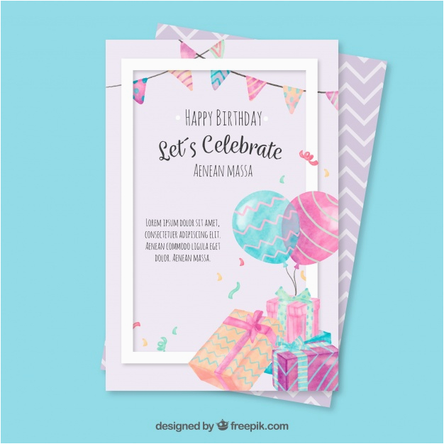 birthday greeting card with watercolor elements 1187760