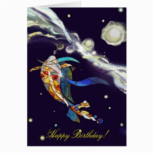 koi in universe happy birthday greeting card 137711747705013381