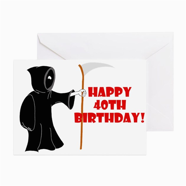 grim reaper 40th birthday cards pk of 10 by rustbeltpop