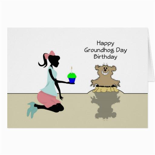 happy birthday on groundhog day retro girl card 137624960992320359