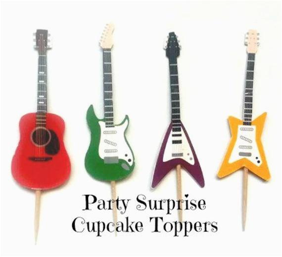 guitar cupcake toppers guitars music