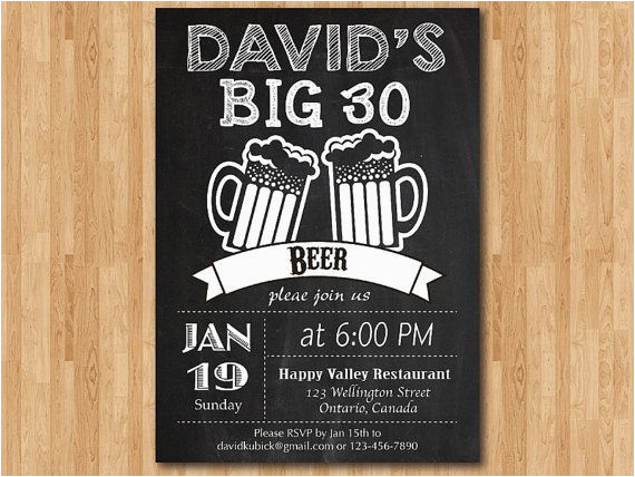 30th birthday invitations for men