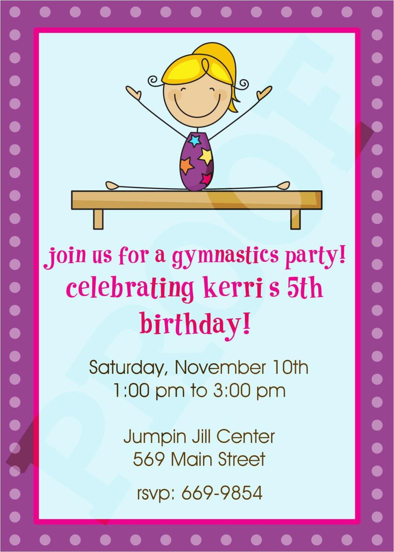 Gym Birthday Party Invitations Gymnastics Invitation By Kinsleyskloset