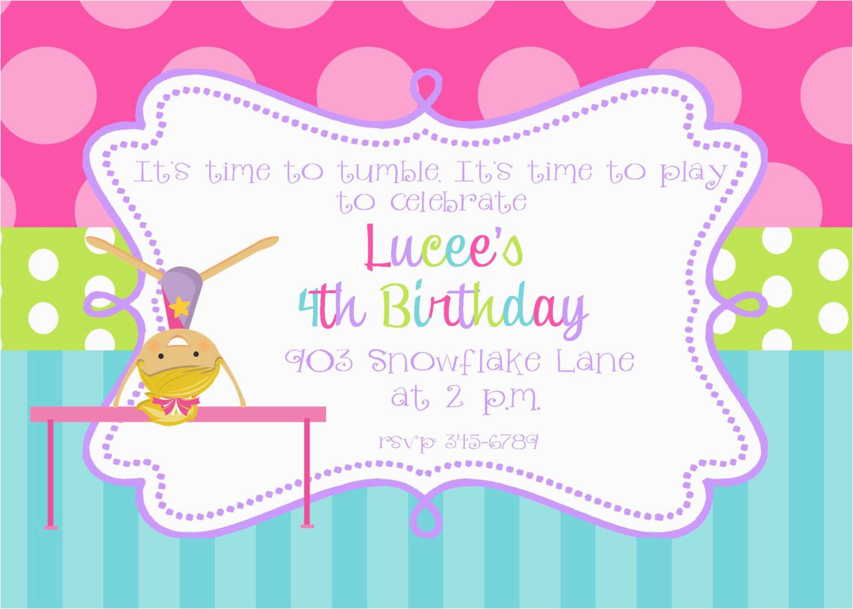 Gymnastics Birthday Invitation Templates Party Invitations Printable Or Digital