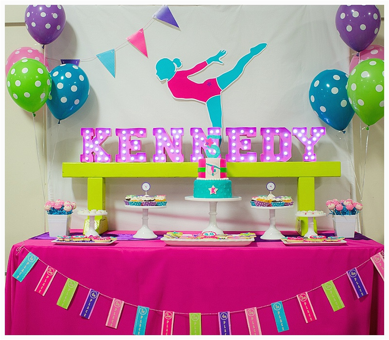 a bright and colorful gymnastics birthday party