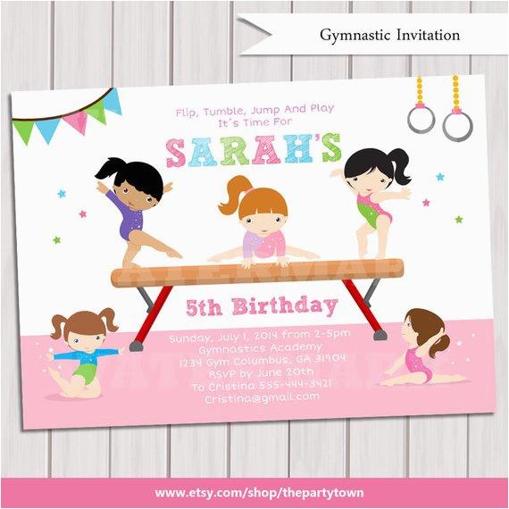 Gymnastics Birthday Party Invitations Printable Gymnastic Invitation