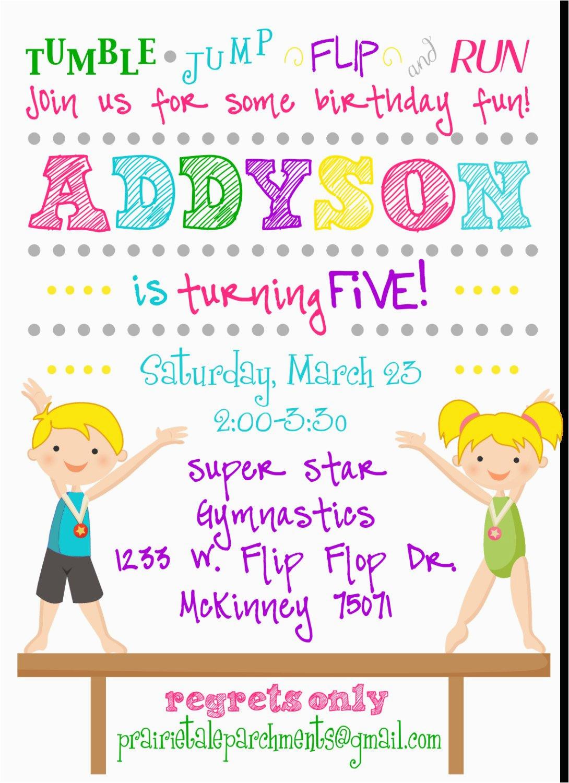 flip flop gymnastics party invitation
