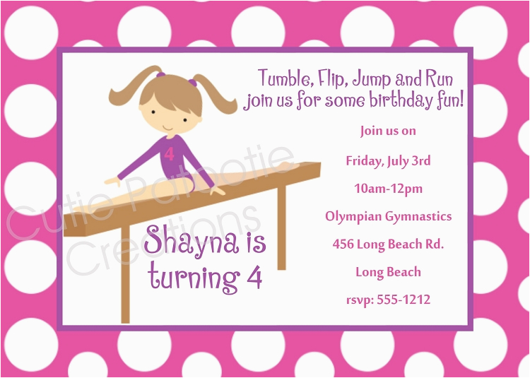 Gymnastics themed Birthday Invitations Free Printable Gymnastics Birthday Invitations