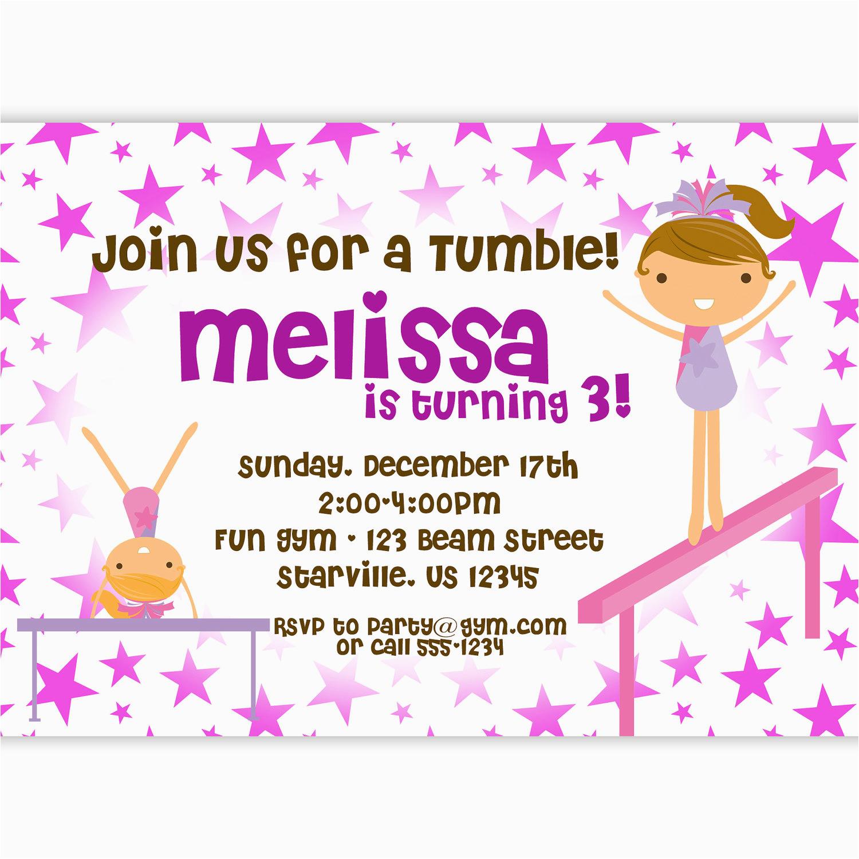 Gymnastics Themed Birthday Invitations Gymnastic Bagvania Free Printable