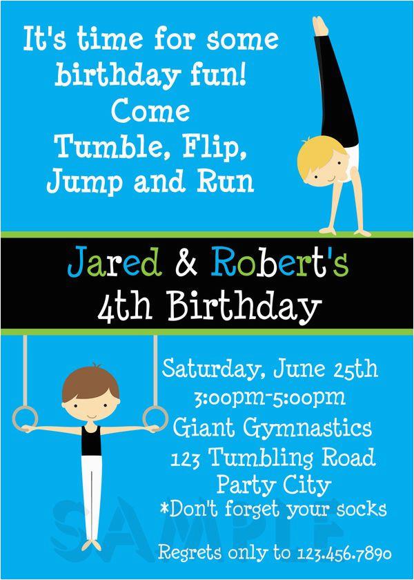 twin boys gymnastics birthday invitation
