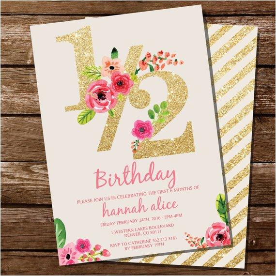 Half Birthday Invitation Half Birthday Invitation Gold Glitter Floral Watercolor