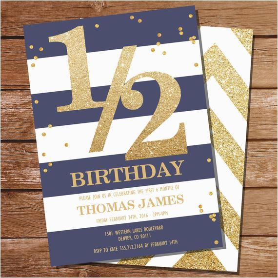 half birthday invitation gold glitter