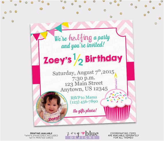 birthday invitation girl cupcake month birthday