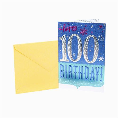 hallmark 100th birthday greeting card 100th with confetti ap b01m0naagm